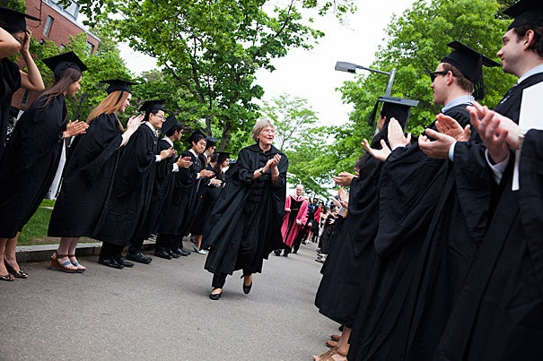 President Drew Faust congratulated graduates before the 225th Phi Beta Kappa Literary Exercises ceremony at Sanders Theatre, which featured talks by poet Laura Kasischke (photo 2) and Harvard's S. Allen Counter (photo 3).
