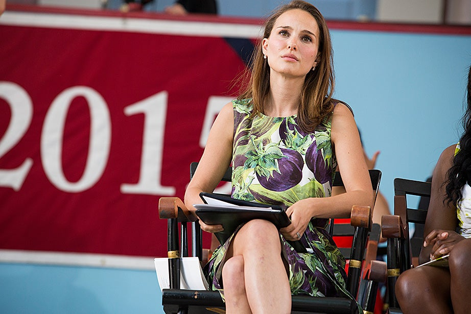 Natalie Portman, the Academy Award-winning actress, returned to Harvard Wednesday afternoon to address graduating seniors during the annual Class Day celebration in summery Tercentenary Theatre. Stephanie Mitchell/Harvard Staff Photographer