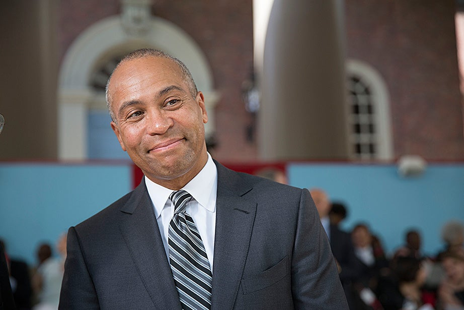 """I don't want unrest in the streets. But I do want unrest in our hearts and minds,"" Deval Patrick told graduates during his Commencement address. Kris Snibbe/Harvard Staff Photographer"