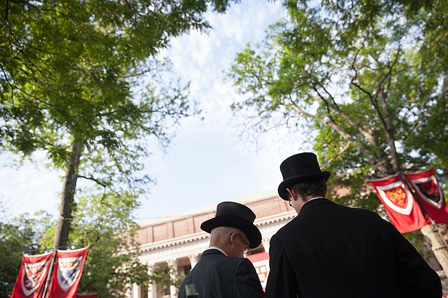 Tradition will always make a Harvard Commencement special. Top hats mark the 364th Commencement. Stephanie Mitchell/Harvard Staff Photographer