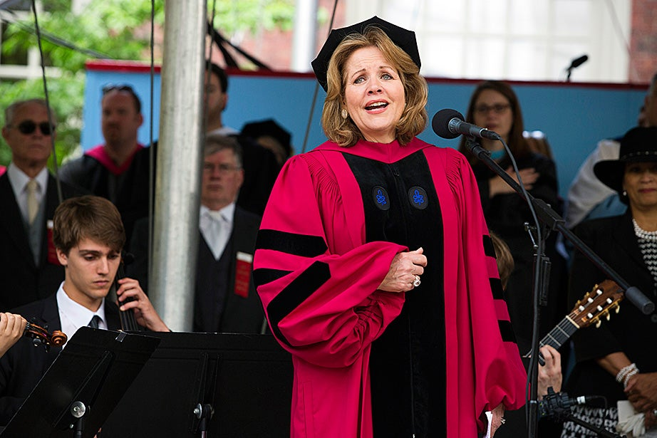 "One of the most acclaimed opera singers and sopranos of all time, Renée Fleming sang ""America the Beautiful."" Fleming also received an honorary Doctor of Music degree.   Stephanie Mitchell/Harvard Staff Photographer"