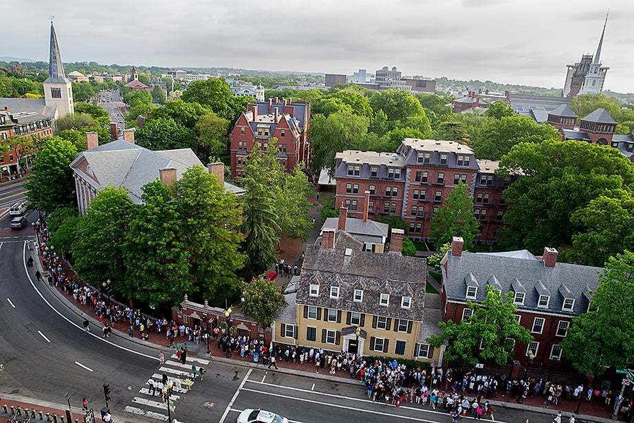 The line to enter the Harvard's 364th Commencement Exercises wrapped around the block on Massachusetts Avenue. Rose Lincoln/Harvard Staff Photographer