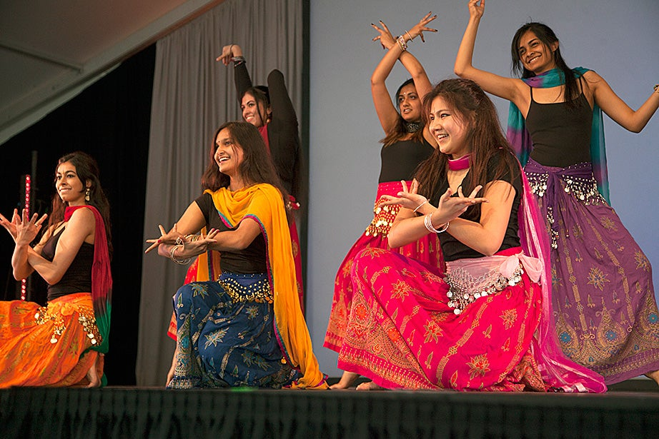 The South Asian Dance Company (Bollywood) performs during Arts First. Photo by Kiera Blessing