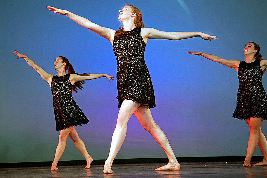 Members of the Harvard-Radcliffe Modern Dance Company perform at Arts First. Photo by Kiera Blessing