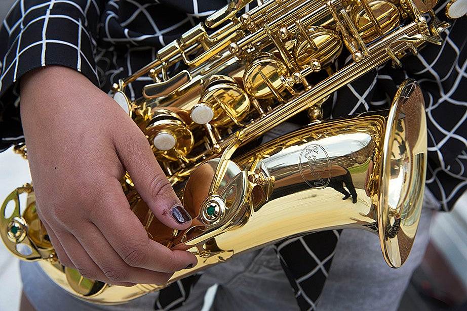 Cambridge Rindge and Latin ninth-grader Mariah Goldsmith practices her saxophone skills.