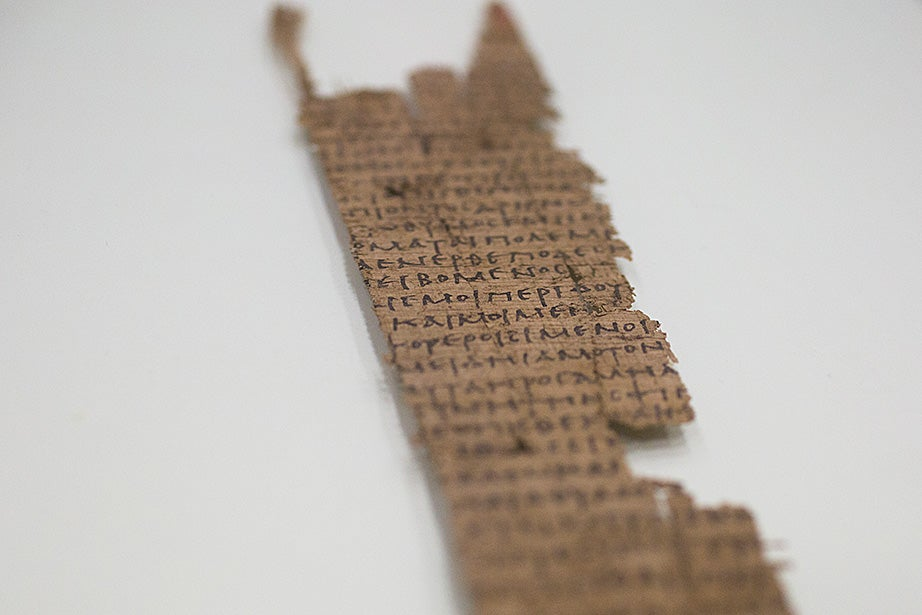 A fragment of one leaf of the first known copy of Homer's Iliad, from circa 1050-225 B.C. Stephanie Mitchell/Harvard Staff Photographer