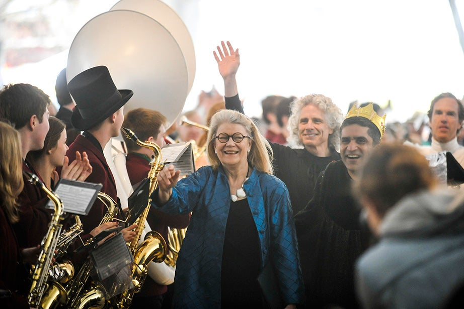 """Diana Eck, master of Lowell House, leads the procession featuring faculty in the performance of """"Swan Lake: For the Birds!"""" Jon Chase/Harvard Staff Photographer"""