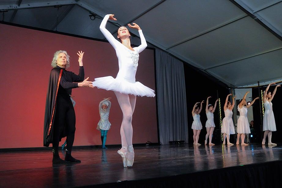 """Johnstone Family Professor of Psychology Steven Pinker takes part in """"Swan Lake: For the Birds!"""" Jon Chase/Harvard Staff Photographer"""