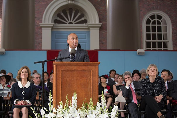 """Former Massachusetts Gov. Deval Patrick (photo 1) called on graduates to follow talk with action on the most urgent problems of the day. The afternoon also featured a speech by President Drew Faust (photo 2), who reminded alumni (photo 3) that Harvard's work is """"about that ongoing commitment, not to a single individual or even one generation or one era, but to a larger world and to the service of the age that is waiting before it."""""""