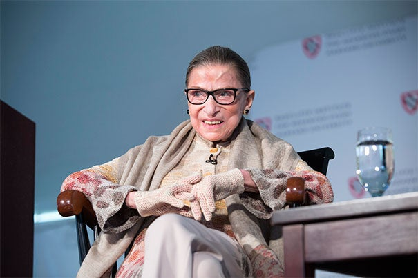 "U.S. Supreme Court Associate Justice Ruth Bader Ginsburg received the Radcliffe Medal on Friday. Since the 1970s, Ginsburg has constantly sought to break down traditional male/female stereotypes ""that held women back from doing what their talents would allow them to do."""