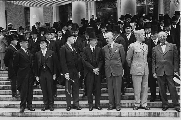 George C. Marshall (third from right) talks with Harvard President James Bryant Conant on the steps of Widener Library during Harvard's Commencement in 1947. Henry Kissinger recalls the content of Marshall's 1947 Commencement address, which marked a historic departure in American foreign policy.