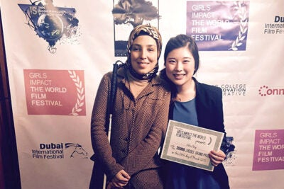 "Sara Minkara (left), a blind Muslim activist and social entrepreneur enrolled at Harvard Kennedy School, was the subject of the film ""Losing Sight, But Gaining a Vision"" by  Gloria Hong '15. Hong's film won the Grand Jury Prize at the Girls Impact the World Film Festival."