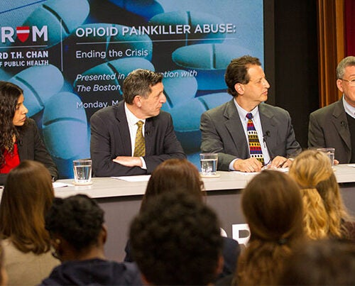 """One in five know someone who actually died,"" said Robert Blendon (far right), the Harvard Chan School's Richard L. Menschel Professor, of opioid addiction. Blendon spoke on a panel with Monica Bharel (from left), commissioner of the Massachusetts Department of Public Health; Michael Botticelli, director of national drug control policy; and Daniel Alford, director of the Addiction Medicine Residency program at Boston University School of Medicine."