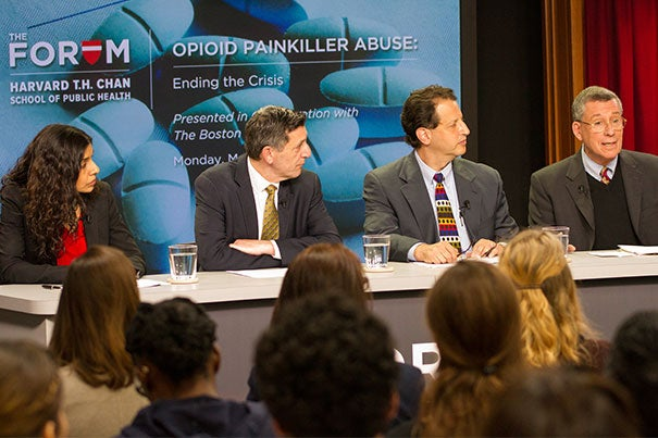 """""""One in five know someone who actually died,"""" said Robert Blendon (far right), the Harvard Chan School's Richard L. Menschel Professor, of opioid addiction. Blendon spoke on a panel with Monica Bharel (from left), commissioner of the Massachusetts Department of Public Health; Michael Botticelli, director of national drug control policy; and Daniel Alford, director of the Addiction Medicine Residency program at Boston University School of Medicine."""