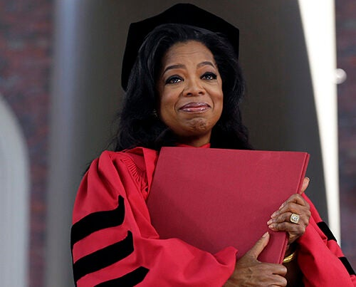 "AP photographer Elise Amendola said Oprah Winfrey ""was incredibly moved to receive an honorary degree. More so than I think I recall anybody else. And when she had the degree she clutched it to her chest and teared up. It just made for a beautiful picture."""