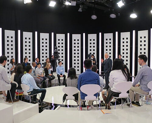 """""""What are the ethical challenges that arise in a world where artificial intelligence and smart machines are playing a greater role?"""" was just one of the ethical concerns proposed by Anne T. and Robert M. Bass Professor of Government Michael Sandel during a discussion in Tokyo hosted by NHK, Japan's public broadcasting station."""