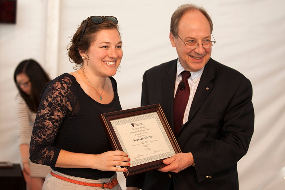 Stephanie Warner '15 receives one of 10 honorable mention awards for outstanding work in bioengineering from Harry R. Lewis, the interim dean at SEAS.