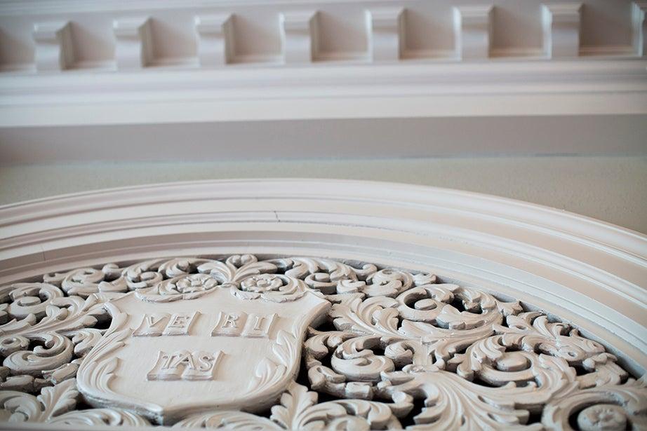 Above an entranceway inside Harvard's Memorial Church.