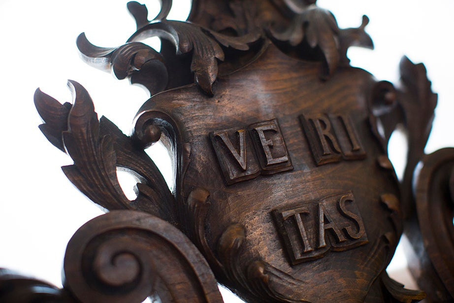 Harvard's Latin motto, carved on a chair inside Memorial Church.