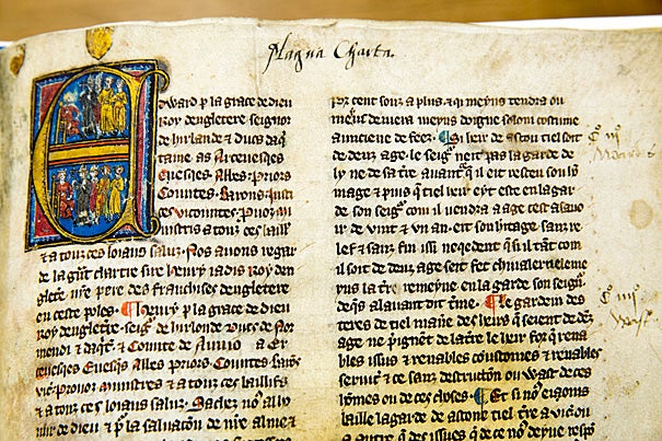 The Harvard Law School Library has a large collection of manuscript copies of the famous English political text, which celebrates its 800th anniversary Monday. Most versions of the library's Magna Cartas are contained in English statutory manuscript compilations dating from about 1300 to 1500, including this illuminated version, circa 1300.