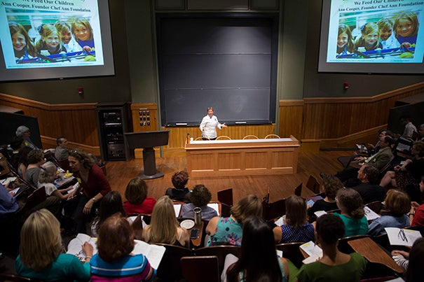 Chef and educator Ann Cooper, speaking at a Harvard conference on food in public schools, said schools should work to serve nutritious, wholesome foods, with plenty of fruits and vegetables, rather than the packaged and processed foods that are prevalent in many institutions.