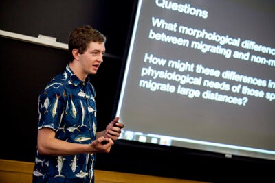 "Griffin Andres, a Cambridge Rindge and Latin School student, gave his final presentation following a semester-long internship program at Harvard. ""I think a lot of the research we saw presented today will end up on published papers with the students' names on them,"" said Professor John Wakeley, chair of the Department of Organismic and Evolutionary Biology, who was impressed with how much the students learned."