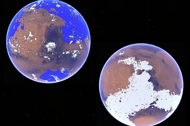 Robin Wordsworth, assistant professor in environmental science and engineering at the Harvard John A. Paulson School of Engineering and Applied Sciences, and his colleagues used a 3-D atmospheric circulation model to compare a water cycle on Mars under different scenarios 3 to 4 billion years ago. The left rendering looks at Mars as a warm and wet planet with an average global temperature of 10 degrees Celsius (50 Fahrenheit), and the other as a cold and icy world with an average global temperature of minus 48 degrees Celsius (minus 54 Fahrenheit).