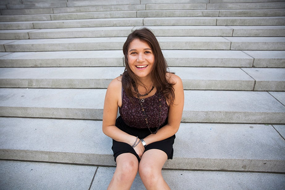 Kara Birkenmayer is a tour guide through Harvard University Information Center. She speaks about her work including her favorite campus facts and tour questions. Kara will be a junior at Harvard College in the fall. She is pictured by Widener Library, her favorite spot on the campus tour. Stephanie Mitchell/Harvard Staff Photographer
