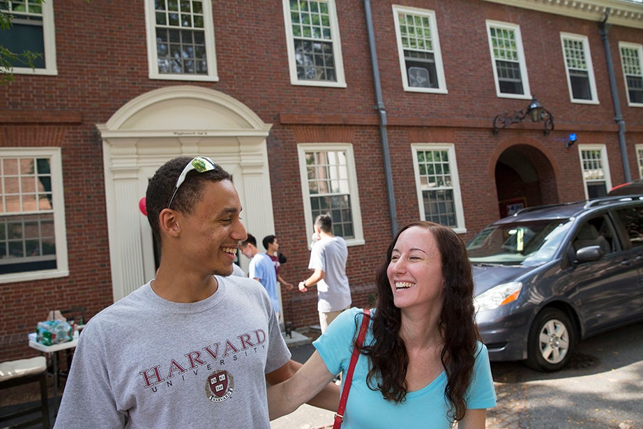 Tyler LeComer '19 shares a moment with his mother, Laurie. Kris Snibbe/Harvard Staff Photographer