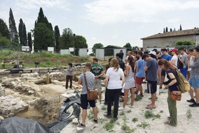 Students in the Harvard Summer Program in Venice met with a University of Padua team to learn about what's happening at the excavation site Fondi Cossar, behind the Basilica of Aquileia (photo 1). They also visited the Orto delle Vignole on a tour led by Walter S Barker Chair in the Department of Economics Stephen Marglin (photo 2). But, when in Venice ... of course the students learned about Venetian rowing, and even participated in races (photo 3).
