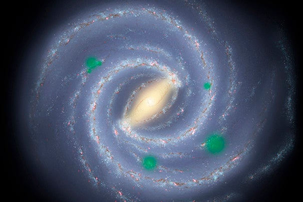 "In this artist's theoretical conception of the Milky Way galaxy, translucent green ""bubbles"" mark areas where life has spread beyond its home system to create cosmic oases, a process called panspermia. New research suggests that if it occurs, we could detect possible signs of life on planets orbiting distant stars."