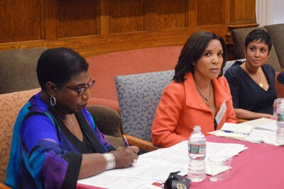 """There is no such thing as telling the whole story,"" said Carole Bell (center), assistant professor of communications studies at Northeastern University, during a panel discussion on ""Race and the Media."" WGBH-TV and radio host Callie Crossley (left) moderated the talk, which included WGBH reporter Rupa Shenoy and Michael Jeffries (not pictured), an associate professor at Wellesley College."