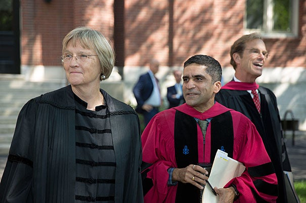 Harvard President Drew Faust (from left, photo 1), Danoff Dean of Harvard College Rakesh Khurana, and Freshman Dean Thomas Dingman look on during the Freshman Convocation in Tercentenary Theatre. Edgerley Family Dean of the Faculty of Arts and Sciences Michael D. Smith (photo 2) also delivered remarks at the ceremony. Among those attending were Elizabeth Athena Braun '19 (from left, photo 3), Erica Oosterhout '19, and Alyn Wallace '19.