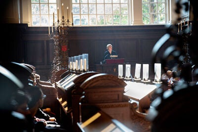 "During her remarks at the first Morning Prayers of the academic year in Memorial Church's Appleton Chapel, President Drew Faust (photo 1) told listeners that the University celebrates the differences within its community as ""an integral part of everyone's education."" Lucy Forster-Smith (left, photo 2), Sedgwick Chaplain to the University and the church's senior minister, officiated the service. The Harvard University Choir was also part of the morning service (photo 3)."