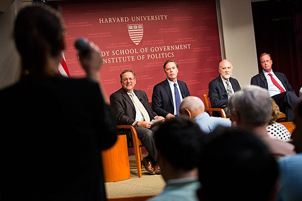 Chief Washington correspondent for The New York Times David Sanger (from left) moderated a panel on Iran that featured Harvard's R. Nicholas Burns and Matthew Bunn, along with William H. Tobey, a former deputy administrator for defense nuclear nonproliferation at the National Nuclear Security Administration.