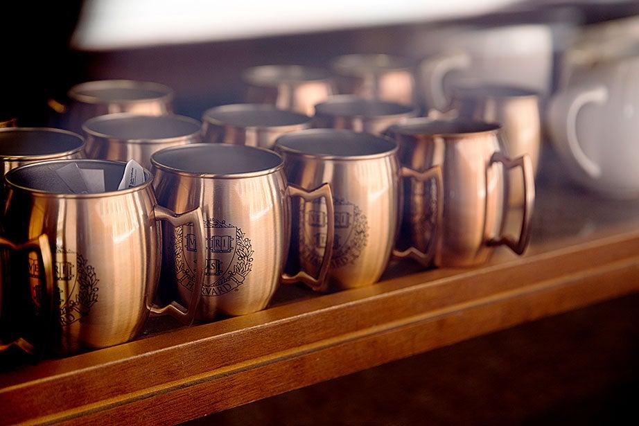 Brilliant Veritas mugs for sale at the Harvard Coop. Rose Lincoln/Harvard Staff Photographer
