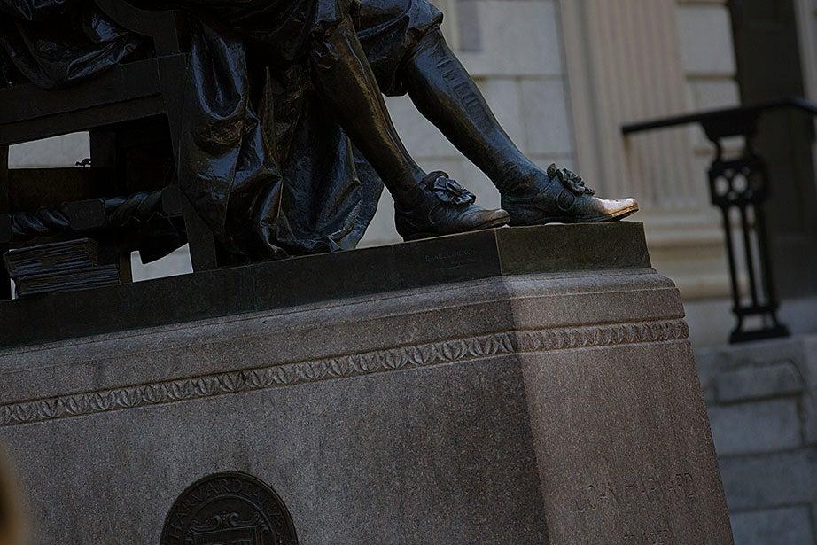 The famed foot of John Harvard. Rose Lincoln/Harvard Staff Photographer