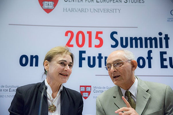 """The photo of young Aylan Kurdi """"was a wake-up call for everybody; it suddenly galvanized a sort of moral outrage which had been lurking for some time,"""" said Harvard's Jacqueline Bhabha (left) during a two-day summit on the future of Europe. Also pictured is Patrice Higonnet, Robert Walton Goelet Professor of French History Emeritus."""