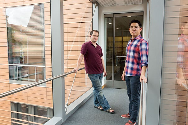 The Harvard University Center for the Environment  provided Jason Kwon '16 (right), a government concentrator, with funding to assist Professor of Government Dustin Tingley with his research on the political and social response to environmental problems.