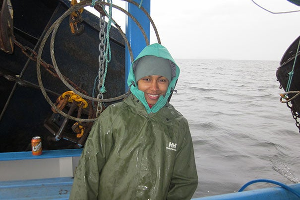 "Postdoctoral fellow Amina Schartup, the paper's first author, aboard the ""What's Happening"" on Lake Melville. In 2017, a dam will flood a large region upstream from an estuarine fjord called Lake Melville."