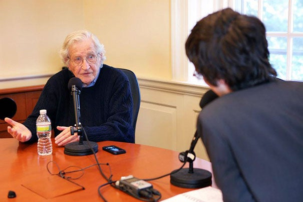 "Noam Chomsky doing an interview on the ""Harvard EdCast"" with host Matt Weber. The ""Harvard EdCast"" is a weekly series of podcasts that features 15- to 20-minute conversations with thought leaders in education."