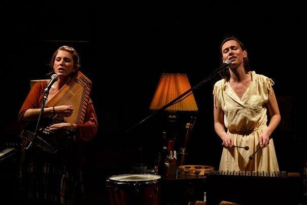 """Brittain Ashford (left) and Gelsey Bell perform in Dave Malloy's supernatural off-Broadway musical """"Ghost Quartet."""" This  song cycle about love, death, and whiskey runs Sept. 9-12 at Oberon."""