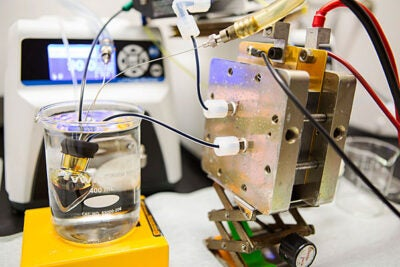 "Harvard researchers wanted to improve on their 2014 flow battery. Their goal was to replace the conventional bromine-bearing electrolyte with something nontoxic. In a paper released today, the team's findings  ""deliver the first high-performance, nonflammable, nontoxic, noncorrosive, and low-cost chemicals for flow batteries."" A prototype of the battery is pictured."