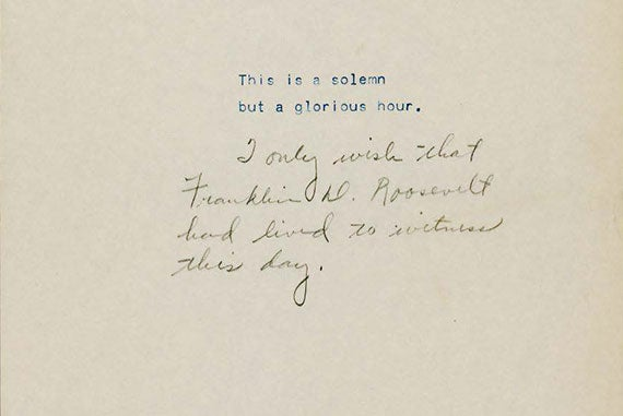 President Harry S. Truman's broadcast speech with notes announcing the surrender of Germany. Image courtesy of the José María Castañé Collection.