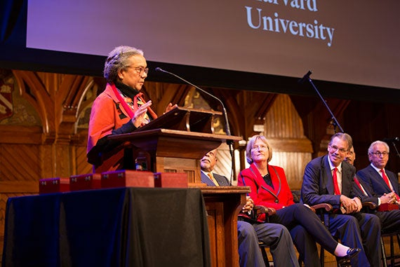 Marian Wright Edelman was presented her medal by Drew Gilpin Faust at Harvard Universityís Hutchins Center for African & African American Research  2015 W.E.B. Du Bois Medalists ceremony at  Sanders Theatre, Memorial Hall. Rose Lincoln/Harvard Staff Photographer