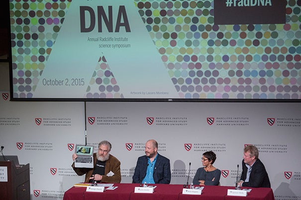 Harvard's George Church (from left) moderated a Radcliffe symposium with John Hawks, Beth Shapiro, and Spencer Wells that featured discussions related to modern DNA analysis, including the possible resurrection of extinct animals like the mammoth, forensic DNA investigation, the ethics of DNA, and a peek at the likely future of DNA science.