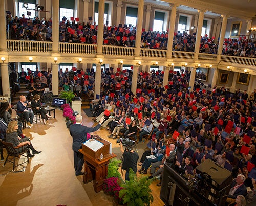 Harvard political philosopher Michael Sandel welcomed a sold-out crowd in Faneuil Hall. The Sunday evening event marked the opening of HUBweek.