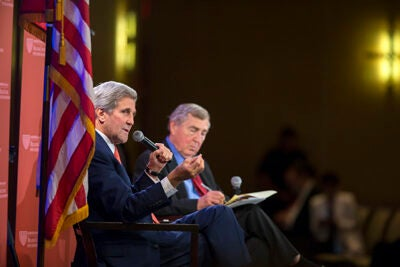 """I can't think of a time when the United States of America has been leading in as many places simultaneously, engaged in as many life-and-death challenges around the world,"" said Secretary of State John Kerry during an expansive talk with Harvard's Graham Allison."