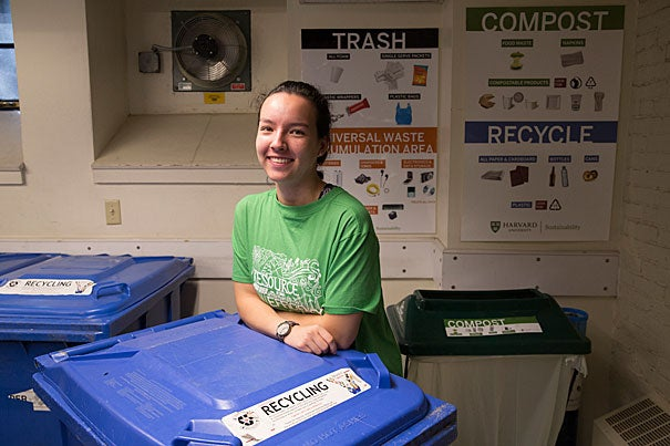 Theodora Mautz '19, who doesn't mind getting her hands dirty if it means a cleaner planet, is a member of the Undergraduate Resource Efficiency Program (REP).