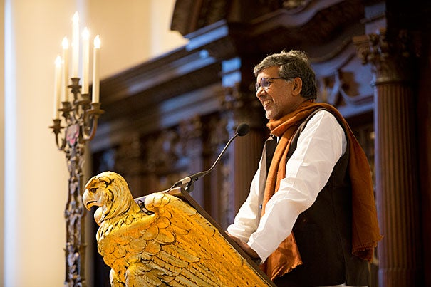 """""""Harvard is a beacon of excellence, a repository of the best leadership in the world, representing the potential to change the world,"""" said Nobel laureate Kailash Satyarthi. """"The time to lead is now and this is the place."""" Satyarthi received the Harvard Foundation's 2015 Humanitarian of the Year award."""
